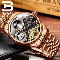 2019 Novos Homens Relógios Mecânicos Binger Papel Esqueleto Marca de Luxo Homens Relógio de Pulso À Prova D' Água Diamante dial sapphire Masculino reloj Relógios mecânicos     -
