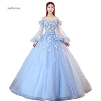 ruthshen Light Blue Quinceanera Dresses Off The Shoulder Long Sleeves Prom Dresses Sexy Illusion Vestido 15 Anos Dresses