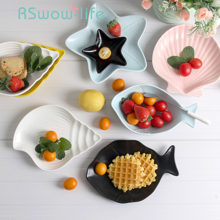 7Pcs Marine Series Ceramic Plate Set Cutlery Simple Creative Dishes And Plates Sets Dinner Plate For Kitchen Dishes