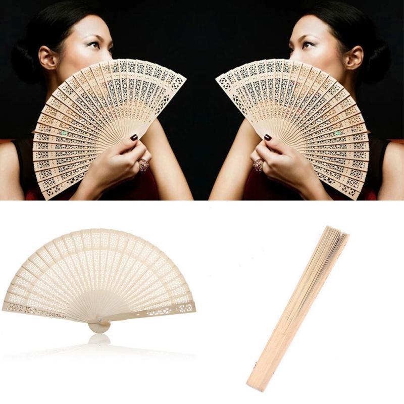Chinese Japanese Folding Fan Super Light Original Wooden Hand Flower Moon Bamboo Pocket Fan for Home Decor Decoracion Fiestas in Decorative Fans from Home Garden
