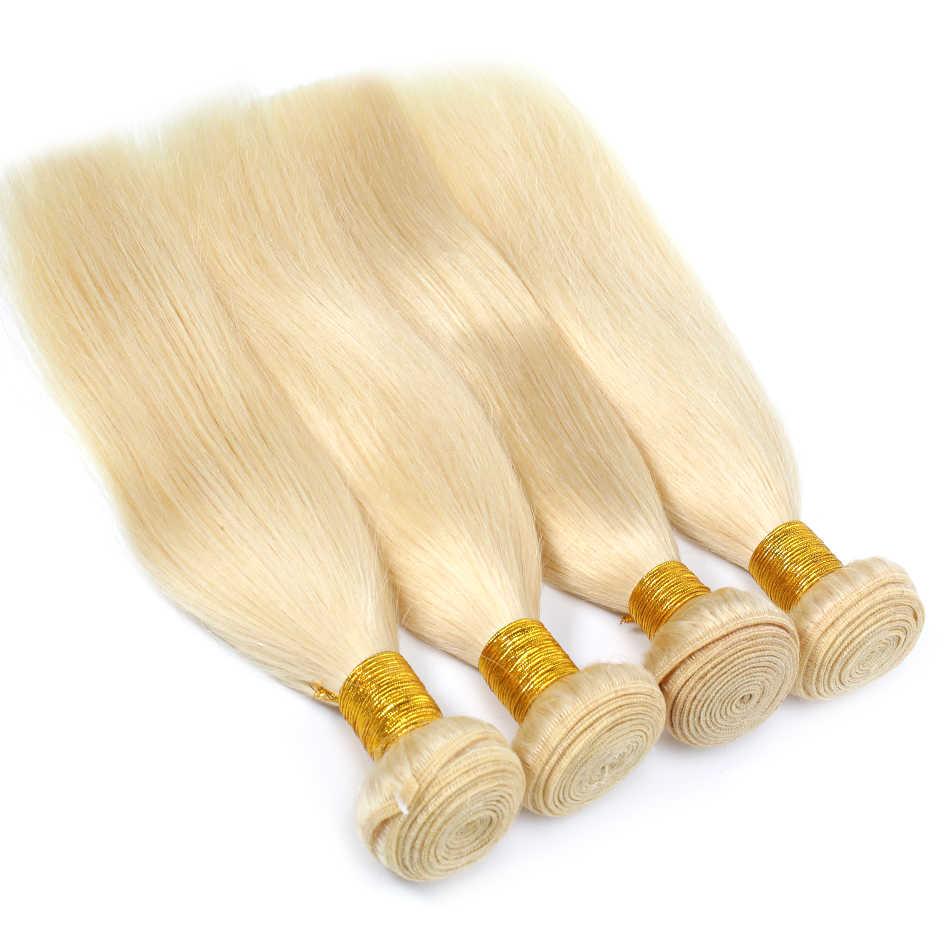 Luwin 613 блонд прямые бразильские волосы плетение человеческих волос пучки с закрытием 3 пучки волосы remy и 1 шт Кружева Фронтальная Закрытие