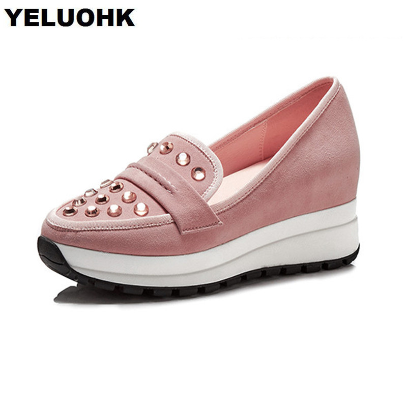 New Spring Crystal Wedges Shoes Women Fashion Suede Leather Slip On Ladies Shoes High Heels Casual Women High Heel Shoes women genuine leather platform wedges shoes ladies shallow mouth slip on high heels wedge shoes fashion cow leather mother shoes