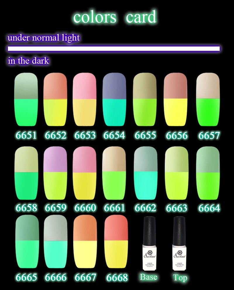 Saviland 2pcs Soak Off Nail Gel Polish Glow In The Dark UV Fluorescent Neon Luminous Nails Varnish Gels Light From Beauty