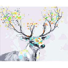 Digital Oil Painting Coloring By Numbers,DIY Hobby At Home,Painting Numbers Colorful Deer