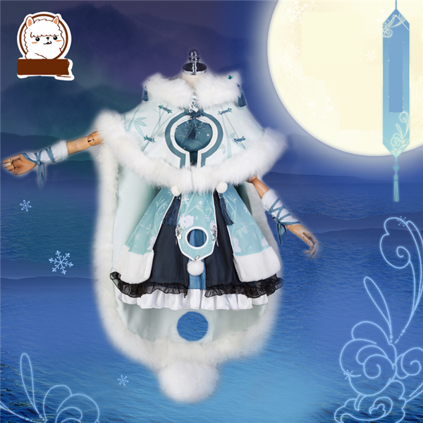 Jeu chaud Miracle Nikki chinois ancien Costume Cosplay Costume lapin bleu blanc LOLITA hiver robe cape/robe