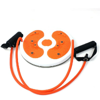 Household Foot Massage Round Magnetic Wriggled Plate Waist Twisting Disc Trimmer with Pull Rope (Orange)