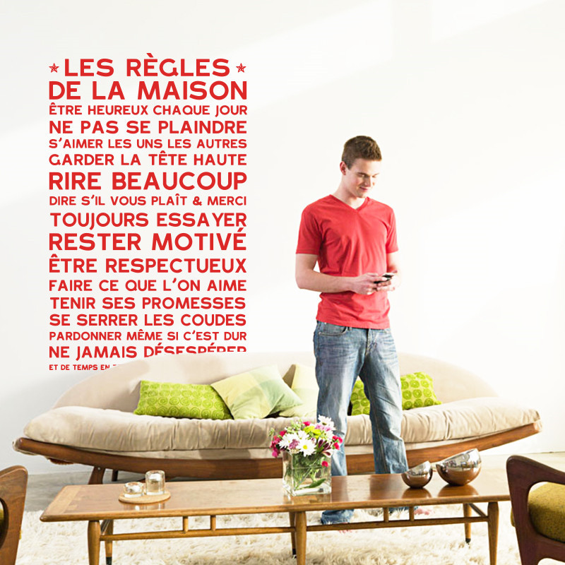 Art Design House decoration vinyl French home Rules words Wall ...