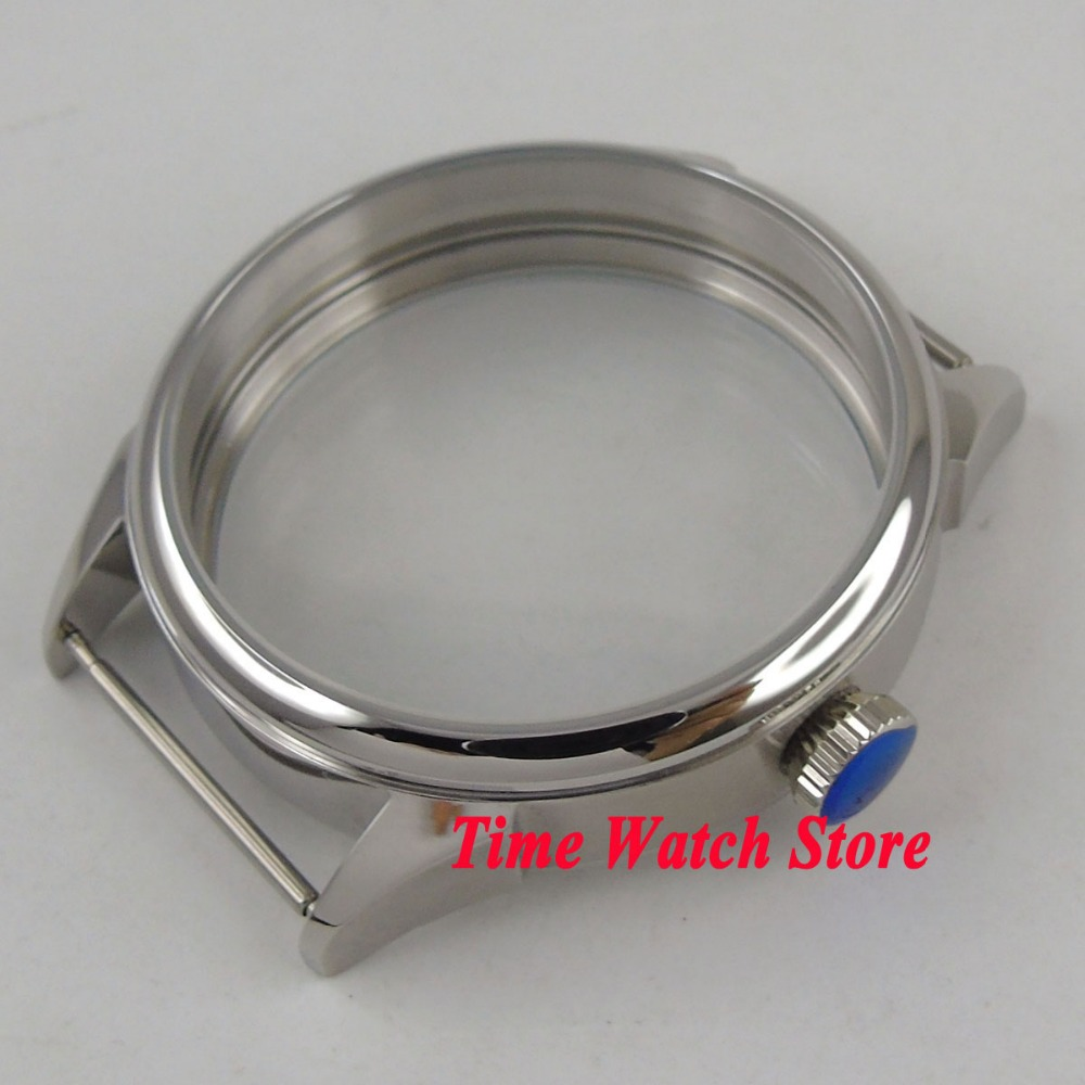 Parnis 42mm 316L stainless steel watch case fit ETA 6497 6498 hand winding movement C10 цена и фото