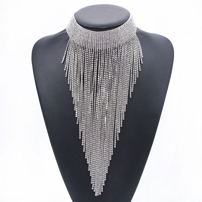New Full Crystal Clavicle Necklace Rhinestone Long Tassel Necklace European and American Fashion Women Jewelry Accessories in Chain Necklaces from Jewelry Accessories