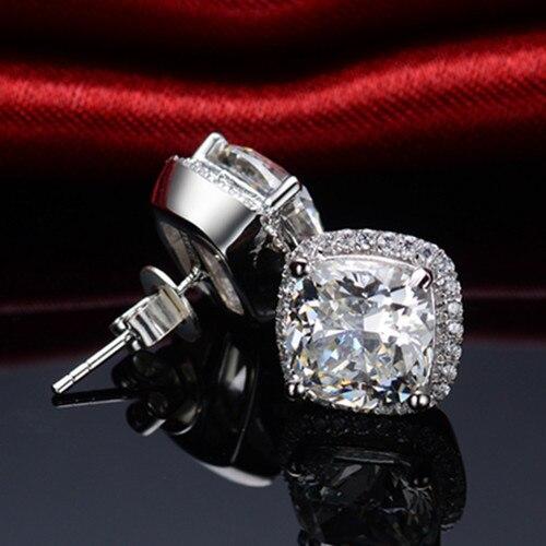 Cushion Earrings Diamond Gold 18k Jewelry Stud-Engagement Solid SONA Gift Cut Women