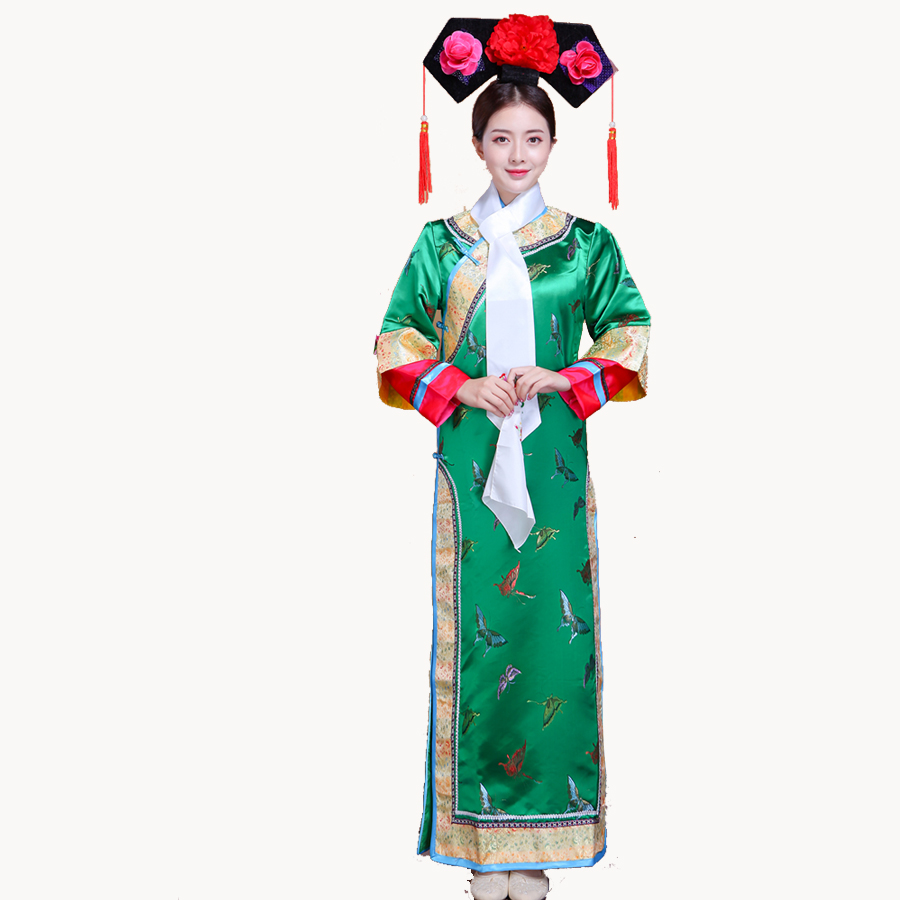 Qing Dynasty Dramaturgic Dress  Dande Wear Women Chinese Traditional Ancient Infanta Costume Peri Theatrical Robe Dress