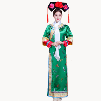 Qing Dynasty Dramaturgic Dress  Dande Wear Women Chinese Traditional Ancient Infanta Costume Peri Theatrical Robe Dress new arrival film performance wear blue embroidered dragon brocade the qing dynasty prince clothes chinese ancient costume male