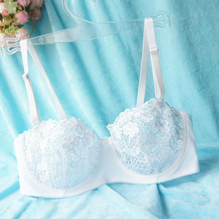 Buy New Ladies Embroidery Lace Women Bra Mesh Lined Brassiere Bralette Push Underwear Lingerie Black Red White Size B C D Cup