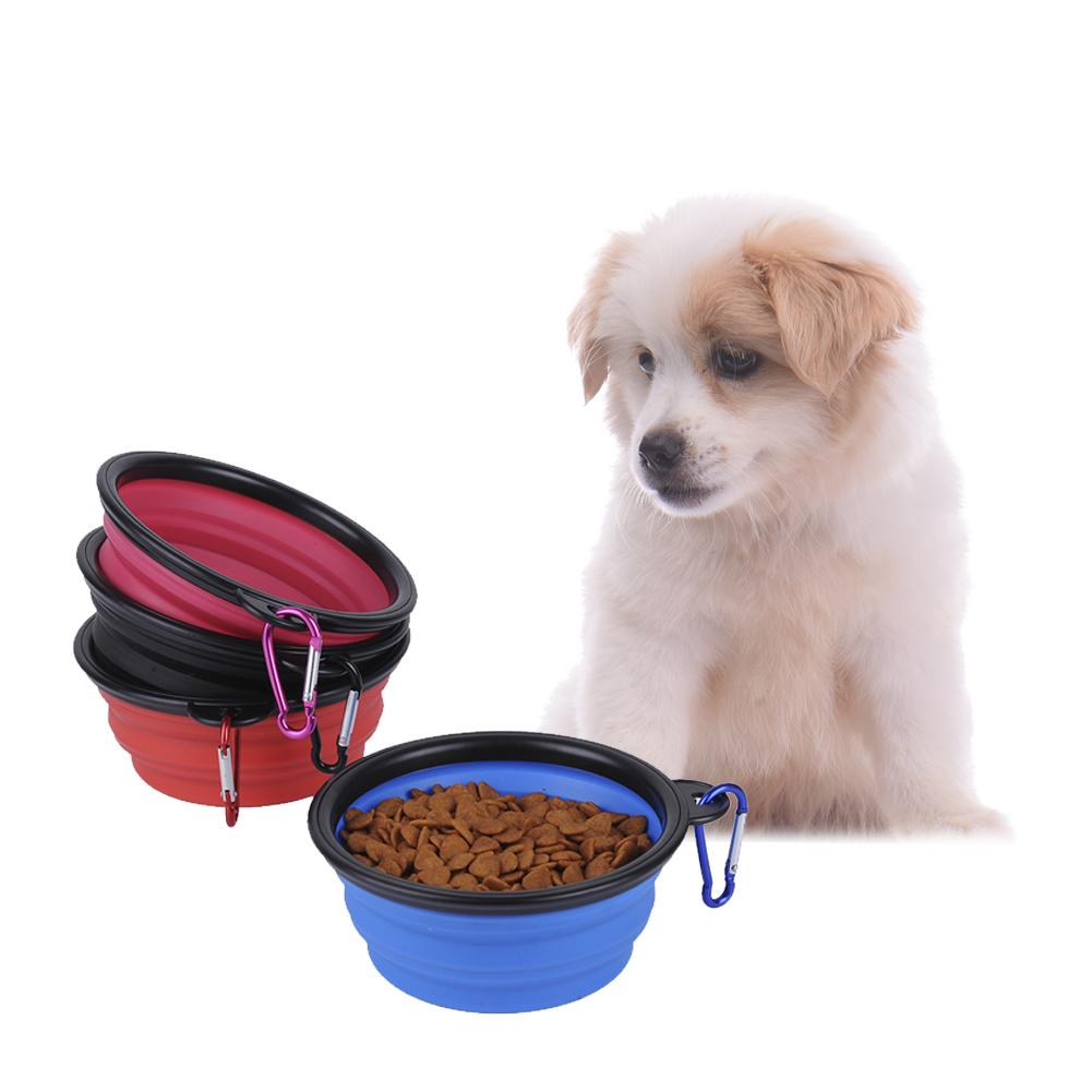 Pet Dog Folding Bowl Dog Silicone Edible Bowl With Carabiner Black Box Supplies Dog Portable Feeder Accessories