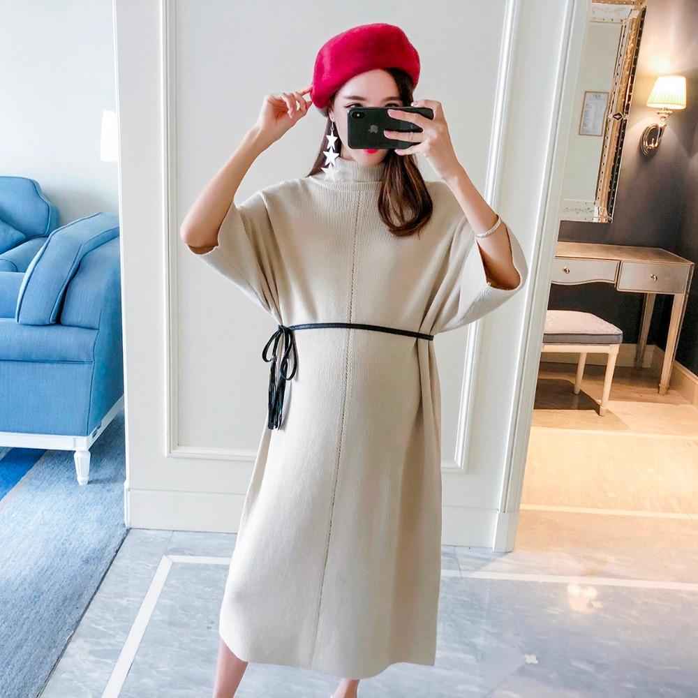 Pregnant women sweater 2018 new fashion high collar half sleeve knit dress loose long section maternity dress цена