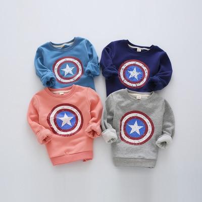 Дети толстовки 2016 осень Мальчики толстовки и кофты Капитан Америка свитер для мальчиков футболка с длинным рукавом