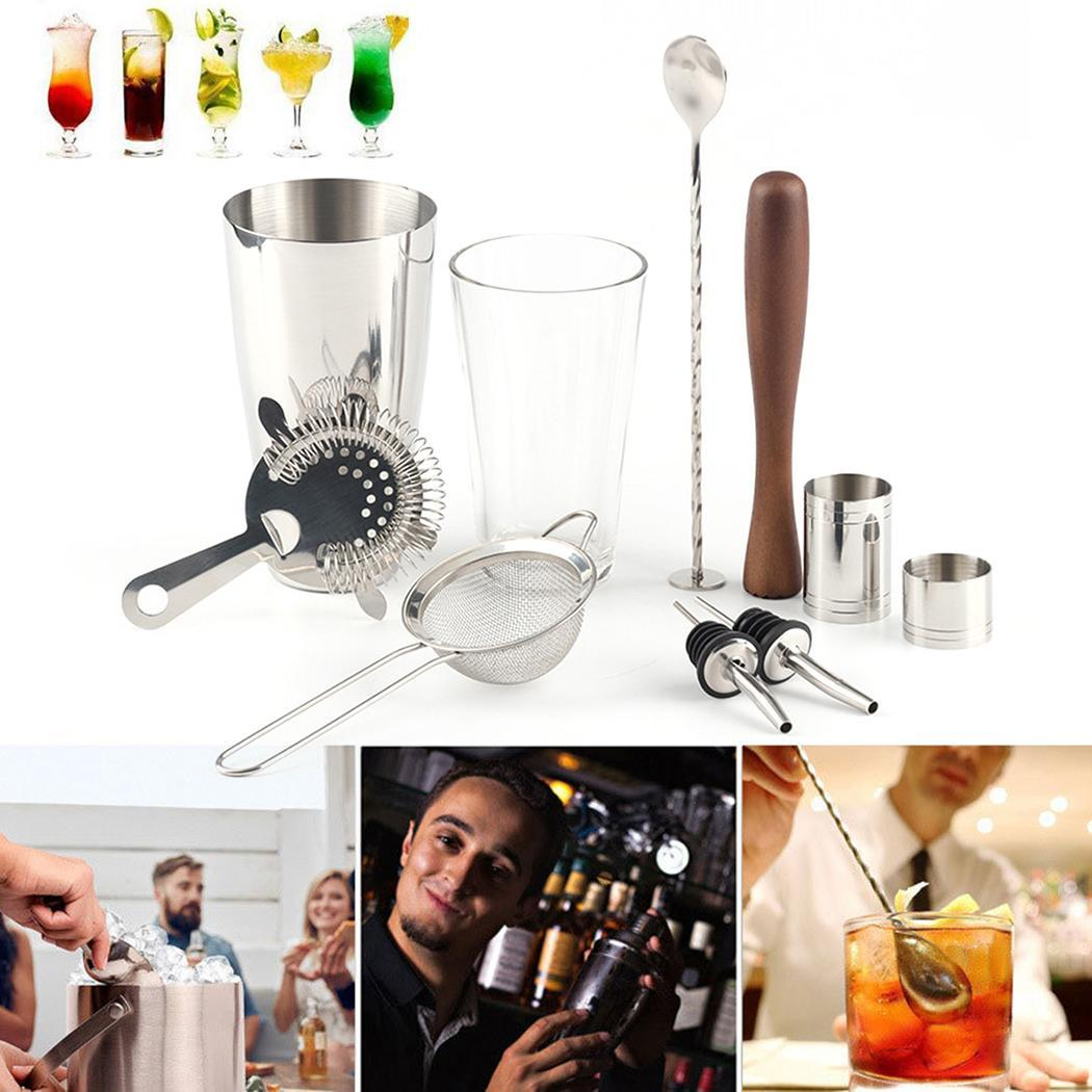 10pcs Stainless Steel Bartending Tool Kit Boston Cocktail Shaker Kit Silver Wine Beer Mixer Drink Kit Party Whisk Bar Tools