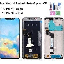 100% novo para xiaomi redmi nota 6 pro display lcd com quadro de toque digitador da tela lcd redmi note6 pro montagem peças reparo