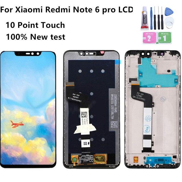 Pantalla LCD para Xiaomi Redmi Note 6 Pro, con Marco, Digitalizador de pantalla táctil, piezas de reparación, novedad de 100%