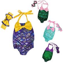 Kids Girl Mermaid Swimsuit Swimwear Beachwear Cute Summer Bow Tankini Bathing Suits Swimming Clothes Headband Outfits