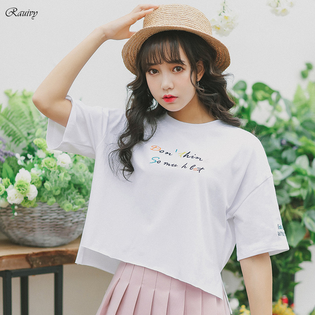 Summer tops 2018 ulzzang harajuku women shirts korean summer style embroidery letters womens ...