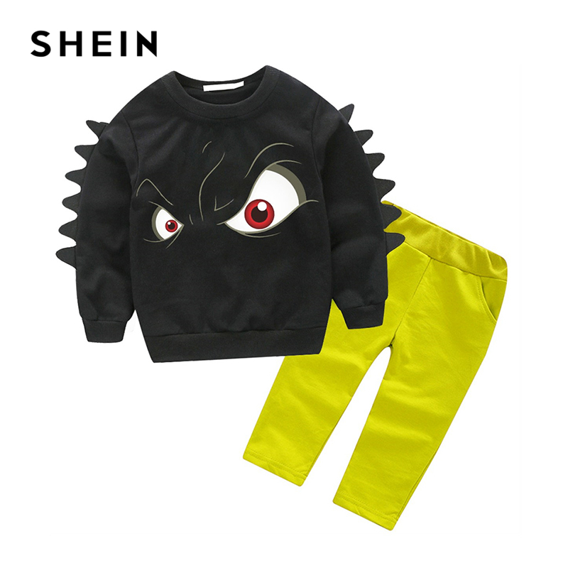 SHEIN Kiddie Toddler Boys Cartoon Eye Print Sweatshirt With Pants Two Piece Set 2019 Spring Long Sleeve Casual Kids Boys Clothes 2 3 4 5 6 year boys clothes 2018 new casual cotton kids suits for boy spring autumn long sleeve toddler children clothing set