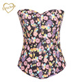 Mujeres Floral Butterfly Print Jeans Denim Corsés y Bustier Top Overbust Victoriana Sexy Trainer Corsé Lingerie Body Shaper