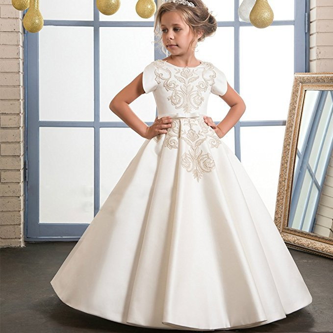 Ivory Satin Gold Lace A-line Flower Girls Dresses For Wedding Pleat Long Girls First Communion Dresses Special Occasion Dresses