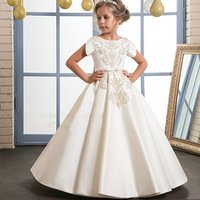Ivory Satin Gold Lace A line Flower Girl Dresses For Wedding Pleated Long Girls First Communion Gowns Special Occasion Dresses