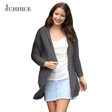 JUNNIOR 2018 New Arrival Cardigan Women Pockets Patchwork Sweaters Long Sleeve Casual Loose Knitted Sweater(China)