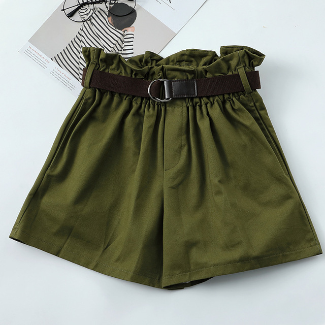 Korean Simple Solid Summer Shorts With Belt 2020 Loose High Waist Slim Loose Green Shorts Women Black Paperbag Shorts 2