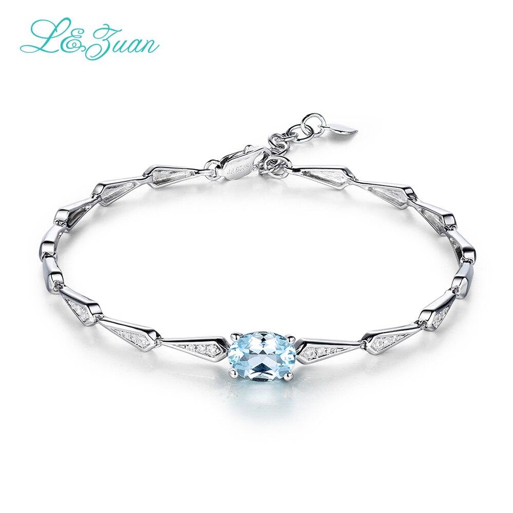 I & zuan Bracelet de mode 925 bijoux en argent Sterling 1.42ct topaze naturelle bleu ovale pierre bracelets pour femmes accessoires à la main 9910