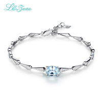 I&zuan Fashion Bracelet 925 Sterling Silver Jewelry 1.42ct Natural Topaz Blue Oval Stone Bangles For Women Hand Accessories 9910
