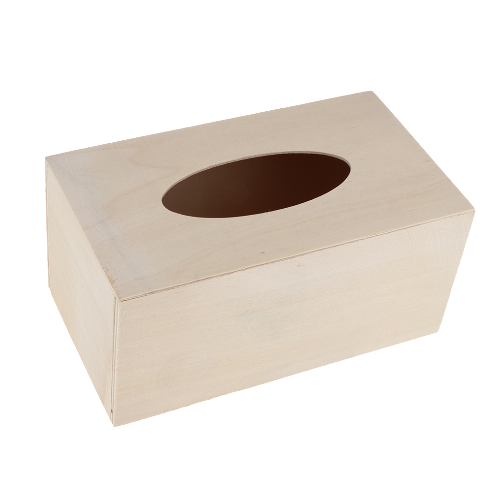1x Unfinished Wood Tissue Box Holder Natural Wooden Box Cover Home Decor