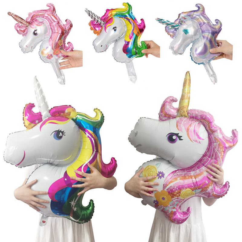 Unicorn Party Balloons 3D Unicornio Foil Ballon Wedding Birthday Party Decorations Kids Adult Baby Shower Event Party Supplies in Ballons Accessories from Home Garden