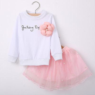 e5a3edd1519423 Baby Kinderen Kids Meisjes Kleding Tops T shirt Tule Rok Leuke Roze 2 stks  bloem Outfit Set Kleren Nieuwe Lente 2 3 4 5 6 7 jaar in Baby Kinderen Kids  ...