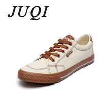 JUQI New 2019 Spring Autumn Men Canvas Shoes Lace-Up Patchwork Casual Sneakers Low Top