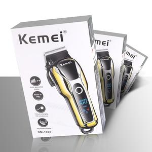 Image 4 - Turbo profesyonel saç kesme şarj edilebilir saç düzeltici erkekler için elektrikli kesici saç kesme makinesi saç kesimi LCD kablosuz kablosu