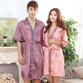 Couples Bathrobe Summer Short Sleeve Silk Robe Set  Kimono Satin Robe Femme Sexy Nightgown Dressing Gown For Women And Men