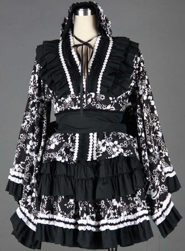 Gothic Lolita Black and White Kimono with Founce Traditional Japanese Retro Look on Sale for Comic-con MR0113