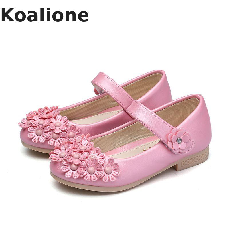 Girls Floral Shoes White Wedding Princess Kids Flower Dance PU Shoes Children Shoes School Perform Flats Sweet Dance Dress Pink