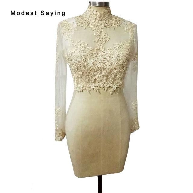 Champagne High Neck Long Sleeve Lace Wedding Boleros 2018 Jackets Women  Wedding Coats Wraps Wedding Accessories chaqueta mujer 031cb74f5