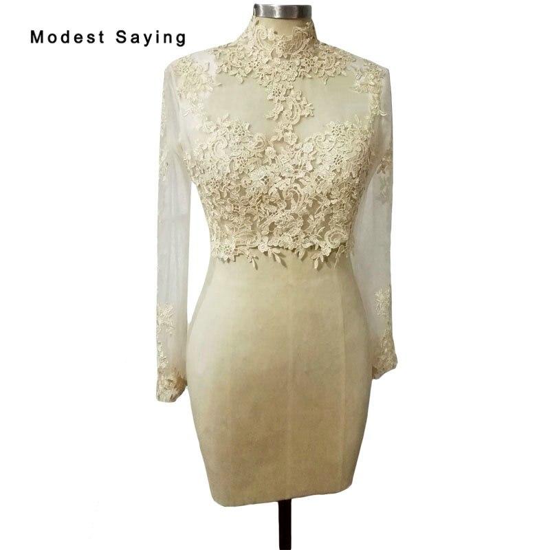 Champagne High Neck Long Sleeve Lace Wedding Boleros 2018 Jackets Women Wedding Coats Wraps Wedding Accessories chaqueta mujer