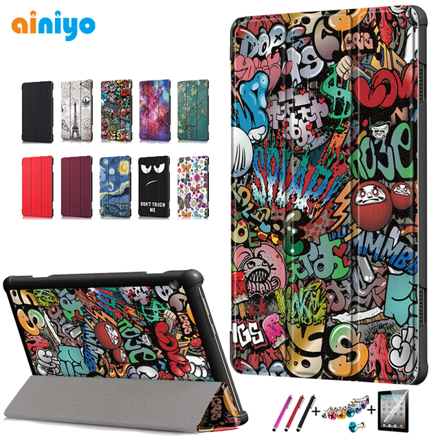 Cover For lenovo tab M10 TB-X605F TB-X605L Smart PU Leather Magnetic Stand PC For Lenovo tab M10 Shell + film+ Stylus pen