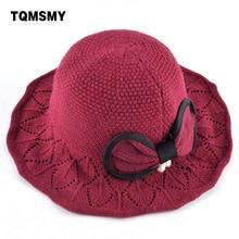 TOMSMY Casual Knitted wool hat women s bucket hats winter wide side cap  Pearl Bow-Knot 9760383ea53f