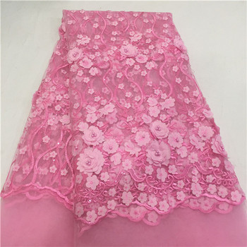 Gorgeous tulle lace cloth with 3D flower design French net lace fabric for party dress  HNZ32(5yards/lot)