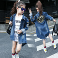 Girls Denim Fashion Coat Children's Cotton Jackets Girls Sequins Jeans Coats 2-14Y 2017 Winter Autumn Kids Outwear Girls Clothes