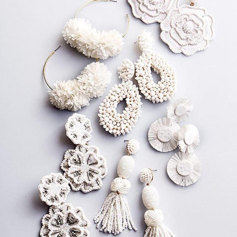 Miwens 32 White Designs Drop Earrings Geometric Big Romantic Dangle Earring Women Wedding Statement Handmade Jewelry Bijoux A069