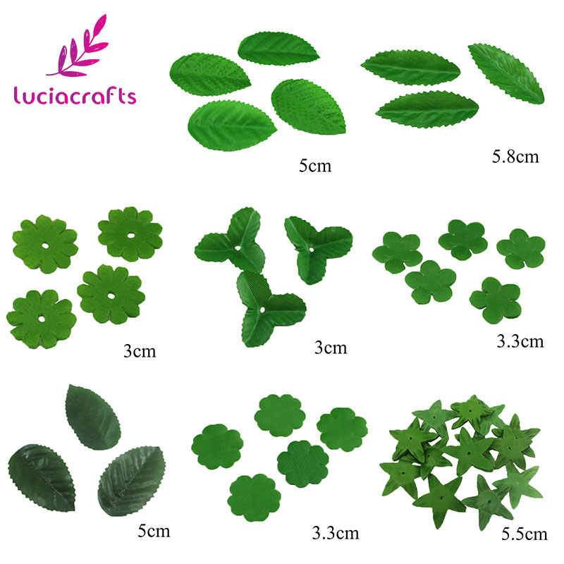 Lucia Crafts 100pcs  Artificial  leaves For Wedding Decor DIY  Silk flower Leaf Materials A0704