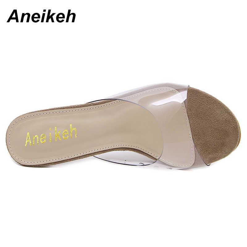 Aneikeh Big Shoe Size 41 42 New Women Sandals PVC Crystal Heel Transparent Women Sexy Clear High Heels Summer Sandals Pumps 11cm